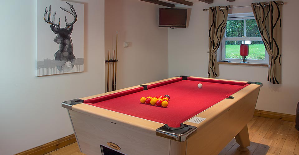 cottage with pool table